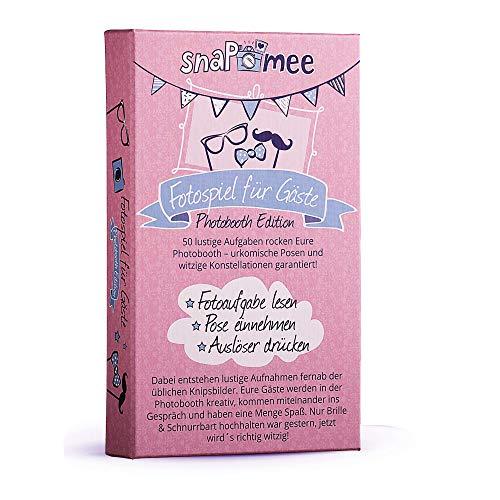 Fotospiel snaPmee Photobooth Edition Kartenbox mit 50 kreativen Fotoaufgaben (Fotorequisiten / Foto-Accessoires Hochzeit, Geburtstag, JGA, Party) Lustige Bilder & Konstellationen garantiert!