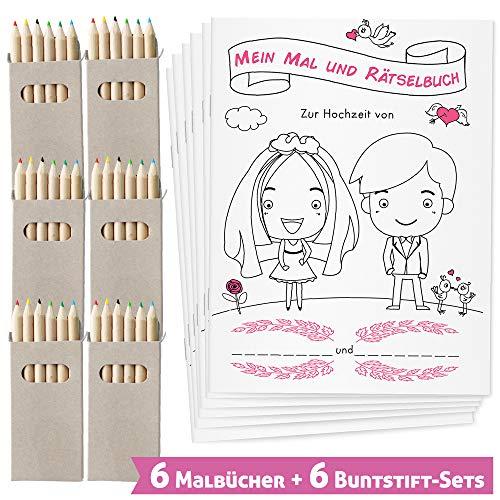 WEDDNG Hochzeitsmalbuch für Kinder mit Buntstiften. Malbuch Hochzeit mit 28 liebevoll gestalteten Ausmal- und Rätselseiten (6 Malbücher + 6 Buntstifte Set). Gastgeschenke Hochzeit