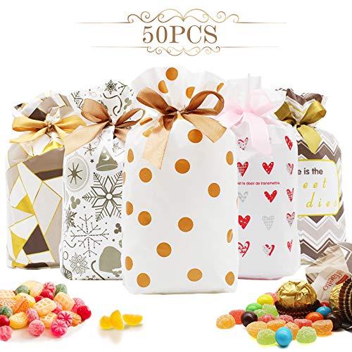 AMZLIFE 50 Stück Geschenkbeutel mit Kordelzug,Süße Kunststoff Bags Partytüte Candy Set Tüten kekstüten geschenktüten klein Süssigkeiten Beutel,für Hochzeit Geburtstag Babyparty Jahrestag.