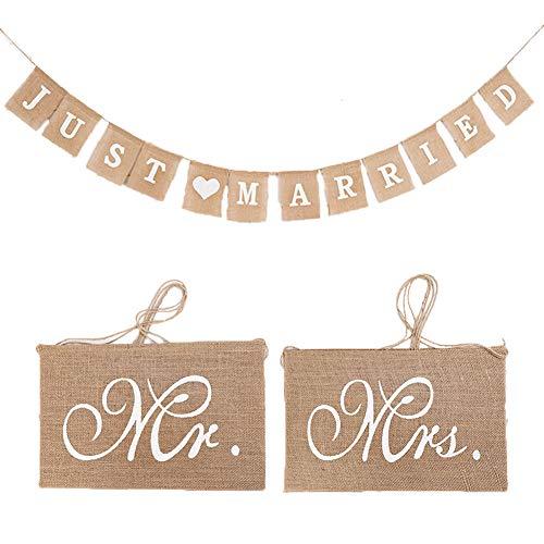 Sackleinen Hochzeit Banner, 1 Set Mr&Mrs Stuhl Schild und Hochzeitsdekorationen Banner, Leinen Hochzeits-Girlande, Hochzeitsdekorationen Leinen Banner, Kreative Requisiten für Verlobung Hochzeit