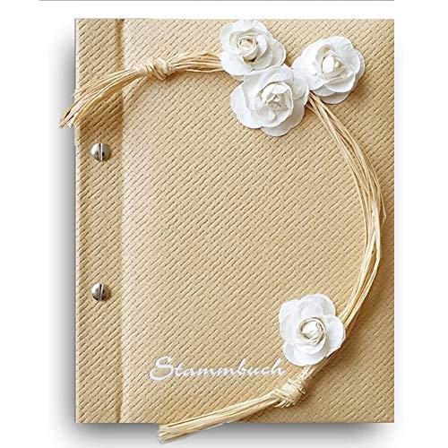 Stammbuch der Familie '3D Blume' Creme Weiß Familienbuch Familienstammbuch Stammbaum Stammbücher - Standard bordeaux