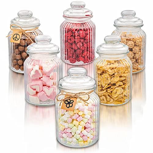 Praknu 6er Set Bonbonglas mit Deckel Groß 1L - Candy Bar Gläser - Luftdicht - Mit Etiketten - Für Kekse, Süßigkeiten