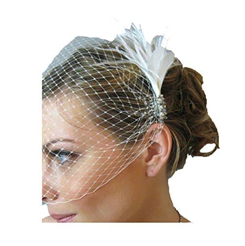 Jelinda Damen Hochzeit Brautbirdcage Gesichts Schleier Feder Abend Schleier mit Kämm