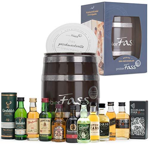 probierFass Whisky Tasting Probierset, Geschenk für Männer, Whisky Geschenk Set für Bruder, Vater oder Opa; Whisky Miniaturen Set (10 x 5cl)