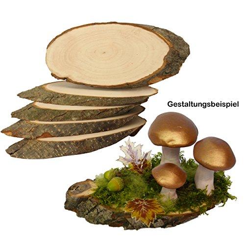Rindenscheiben 5 Stück 21 - 23 cm lang zum Beschriften tolles Naturprodukt Naturholzscheiben Baumscheiben Erle groß oval auf beiden Seiten geschliffen für Deko & Basteln ideal zu Weihnachten 4070