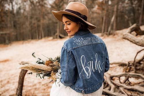 Beschriebene Jeansjacke boho, personalisierte Jacke, Wedding Jacket, Jacke Braut, Lettering Jacke Handlettering JGA