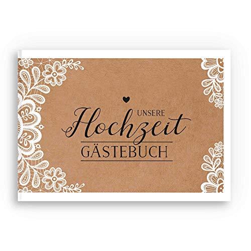 bigdaygraphix Gästebuch Hochzeit Hochzeitsbuch mit Fragen A4 quer Kraftpapier Spitze