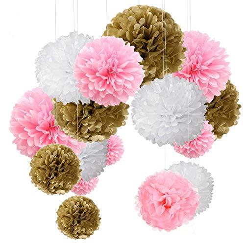 15er Set Pompoms Deko Bunt Seidenpapier Pompons für Hochzeit, Geburtstag, Party Gold Rosa Weiß