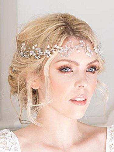 fxmimior Brautschmuck Haarschmuck Kristall Kopfband Haar Vine Diadem Abend Haar Stück Kopfbedeckung individuell lang Stück Hochzeit Kopfbedeckung (Silber)