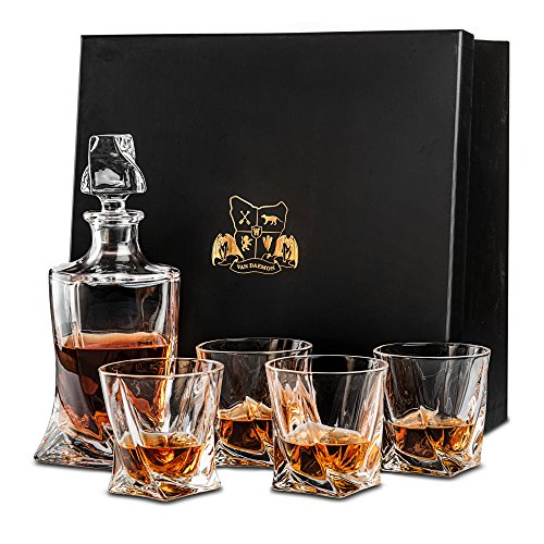 Whisky-Set 'Tasman Twist' von Van Daemon. 4 Whiskygläser (300 ml) und Karaffe (750 ml) aus Kristallglas. Für Scotch, Bourbon und mehr. Spülmaschinenfest mit Geschenkbox.