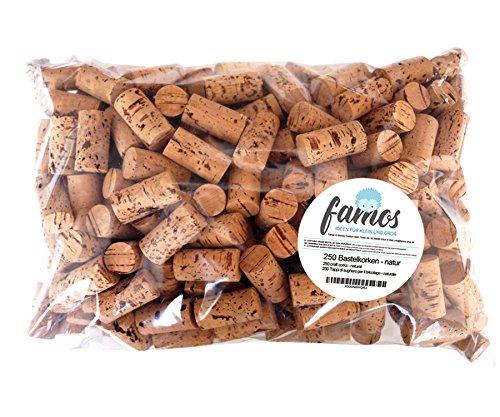 famos 250 Korken/Weinkorken / Flaschenkorken zum Basteln - Natur 24mm x 45mm
