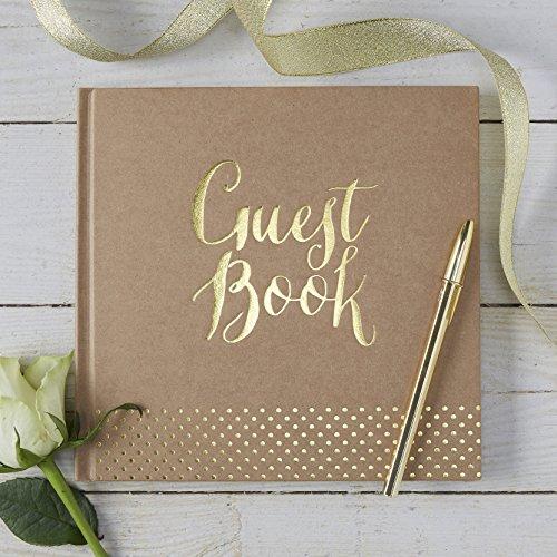 Ginger Ray KP-511 Hochzeitsgästebuch, Kraft- und Goldfolie, 32 Seiten