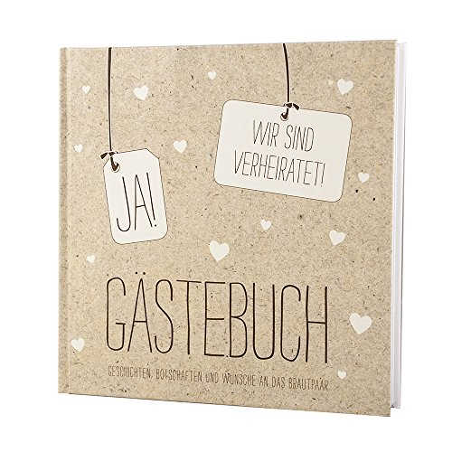 Gästebuch Hochzeit Vintage, Ja! Wir sind verheiratet - Kraftpapier Hochzeitsgästebuch mit Herzen, 144 weiße Seiten, 21 x 21 cm