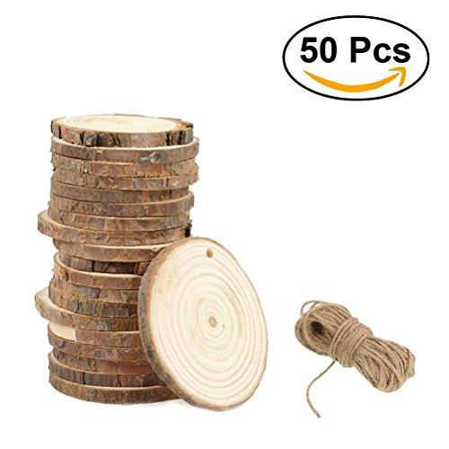 Runde Holzscheiben ULTNICE Runde Holz Stücke Holzscheiben Holz Scheiben Verzierungen DIY Craft 3-4CM mit Jute Twine Pack von 50
