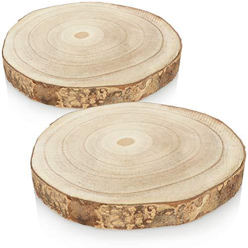 com-four® 2X Baumscheibe mit Rinde - Dicke Holzscheibe zur Dekoration - Deko-Untersetzer für Glaskaraffen - Runde Baumscheibe zum Basteln - Ø 18-22 cm
