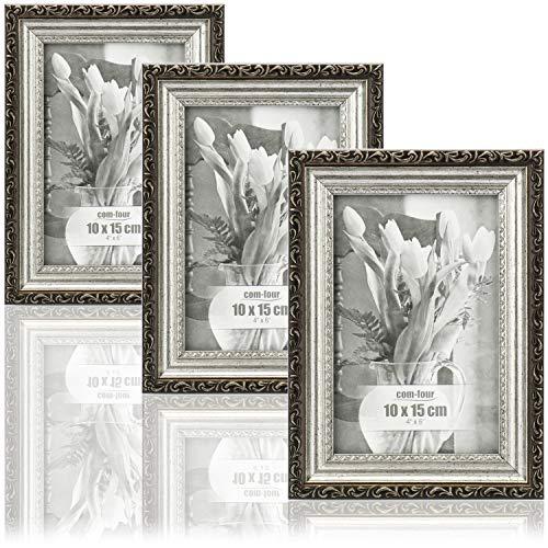 com-four® 3X Bilderrahmen 10 x 15 cm Antik für die schönsten Fotos - Stilvoller Fotorahmen - Rahmen für Lieblingsbilder und Schnappschüsse - tolle Geschenkidee