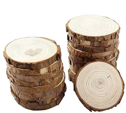 Ounona Holzscheiben, rund, für Bastelarbeiten, Verzierung, Hochzeitsaufsteller, 9-10 cm, 10 Stück