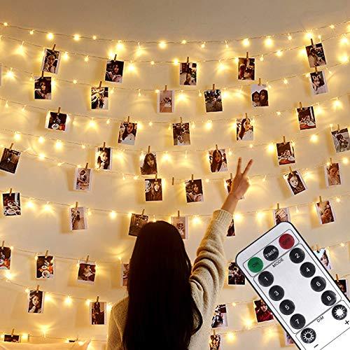 Foto clip Lichterketten,USB Oder Batterie Betrieben,10M 100LED Fotolichterkette mit Fernbedienung,8 Modi,Dekoration für Innen,Schlafzimmer,Hochzeit,Party,Weihnachten (50 Clip & 25 Nägel,Warmes Licht)