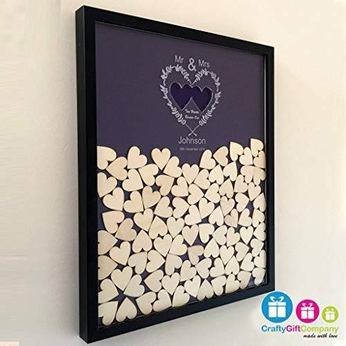 Personalised wedding guest book heart drop box 65 hearts and colour choice keepsake gift Wedding anniversary birthday rustic shabby chic by Crafty Gift Company
