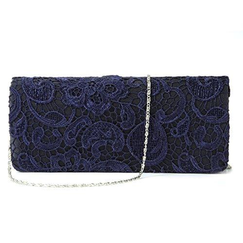 Surepromise Satin MädchenTasche Spitze Dametasche Abendtasche Handtasche Kettentasche für Party Hochzeit Alltagsleben