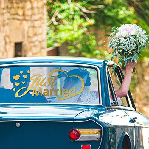 PrintAttack G001   Just Married Autoaufkleber   Fenster Aufkleber   Auto & Foto-Requisit   Dekoration für Hochzeit & Auto (Gold, Mittel (40 cm x 20 cm))