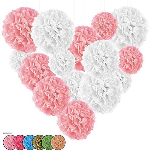 15er Set Seidenpapier Pompoms, inkl. Satinbänder (je 1.20m), inkl. Geschenkverpackung, mit deutscher Videobastelanleitung (weiß-rosa)