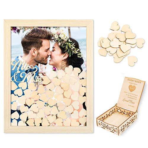 Creawoo Gästebuch-Rahmen aus Holz Hochzeitskarton (abnehmbare Rückseite) mit 100 leeren Herzen kostenlosem Gäste-Schreibkasten für Hochzeitsgeschenke, die Freunde mitbringen (Holz)