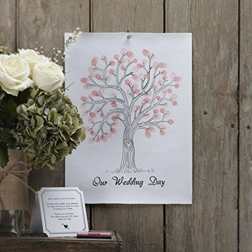 Ginger Ray AF-604 Vintage Hochzeit Fingerabdruck Baum Leinwand mit Tinte & Anleitung für Hochzeiten, Weiß