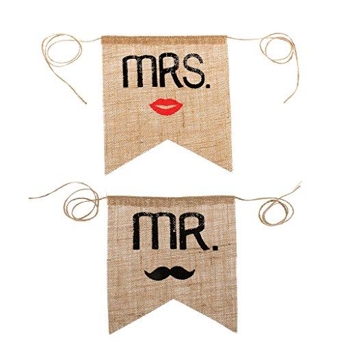 Mrs Mr Leinwand Stuhl-Banner Hochzeit Dekor Rustikalen Photography
