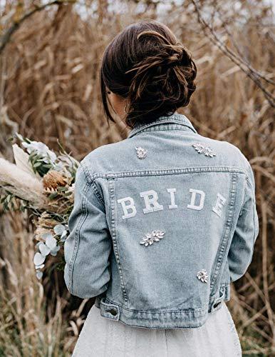 Bride Jeansjacke boho mit Strass Applikationen, Wedding Jacket, Jacke Braut JGA