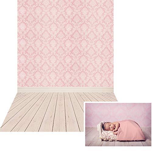 NIVIUS PHOTO® 150*220cm Dünne Vinyl rosa Damast Tuch Fotografie Hintergrund Computer Druck Hintergründe für Fotostudio Neugeborene Geschenk XT-2341