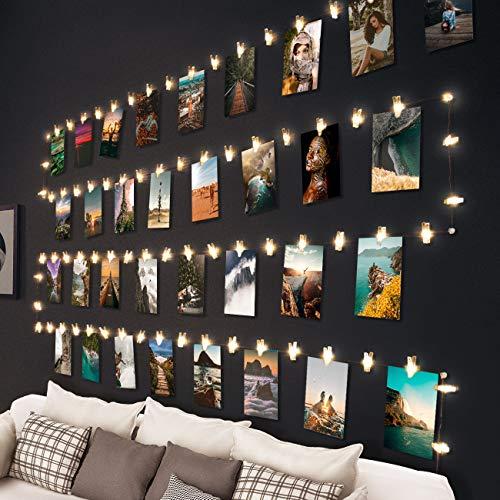 10M 100LED Fotoclips Lichterkette, litogo Lichterkette mit 60 Klammern für Fotos Wand Batteriebetriebene Lichterketten DIY bilder für Zimmer, Wohnzimmer Weihnachten Hochzeiten Warmweiß, 20 Nägeln