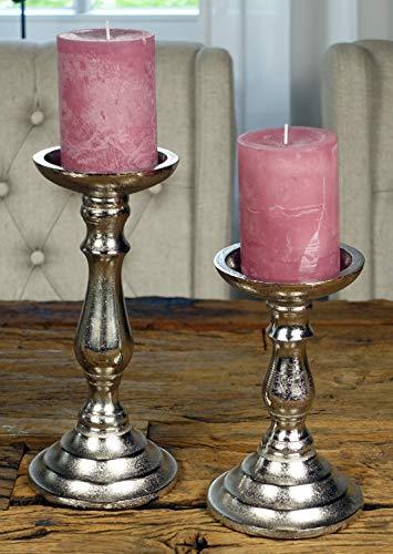 MichaelNoll 2er Set Kerzenständer Kerzenhalter Aluminium Silber Deko - Kerzenleuchter Modern für Stumpenkerzen - Tischdeko Hochzeit - H 18,5 cm / 24 cm