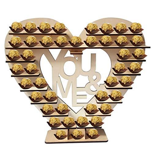 TOPCHANCES Herz Display Ständer Schokolade Ständer Hochzeit Display Kreatives Holz Liebe Herz Herz Herz Herzstück Perfekt für die Hochzeit Dekoration (D)