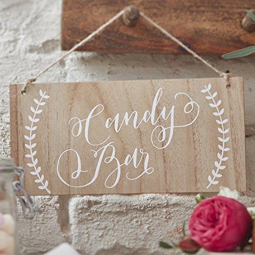 Ginger Ray Candy Bar Holzschild Hochzeit hängende Dekoration Boho