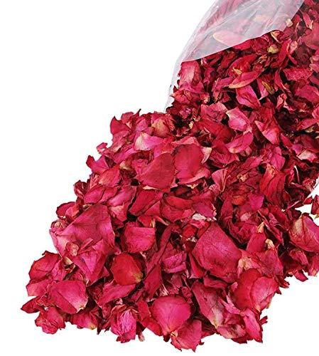 Lvcky100 g natürliche getrocknete Rosenblätter echte Blume trockene rote Rose Blütenblätter für Fußbad Körperbad Spa Hochzeit Konfetti Heimduft DIY Handwerk Zubehör