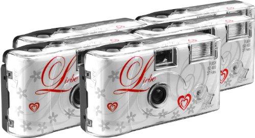 TopShot Love weiss Einwegkamera / Hochzeitskamera (27 Fotos, Blitz, 5-er Pack)
