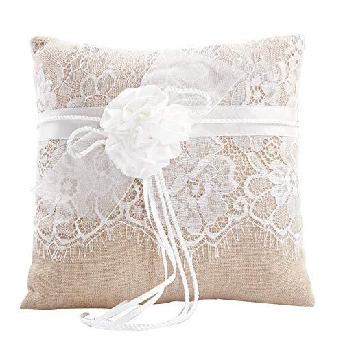Awtlife Ringkissen aus Spitze, Ringkissen mit Blume, 21 cm, für Hochzeitszeremonie