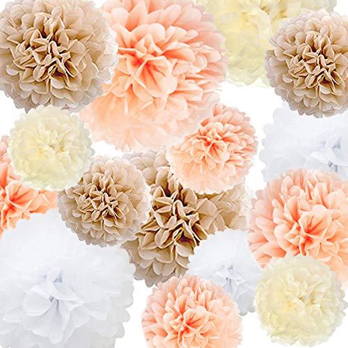 Seidenpapier Pom Poms Papier Blume 22 Pcs Champagner, Pfirsich, Elfenbein, Weiß für Geburtstag Bachelorette Hochzeit Baby Shower Bridal Shower Party Dekoration