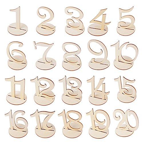 1-20 Hochzeit Tischnummern Set aus Holz mit Basis Zahlen Halter Tisch Nummern Holzzahlen Geburtstagsparty Dekoration