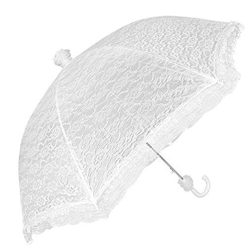 Weißer Brautschirm Regenschirm - Hochzeitsschirm bei Regen und Sonne - Regenschirm/Sonnenschirm Perletti aus Spitze - Automatik (Spitze)