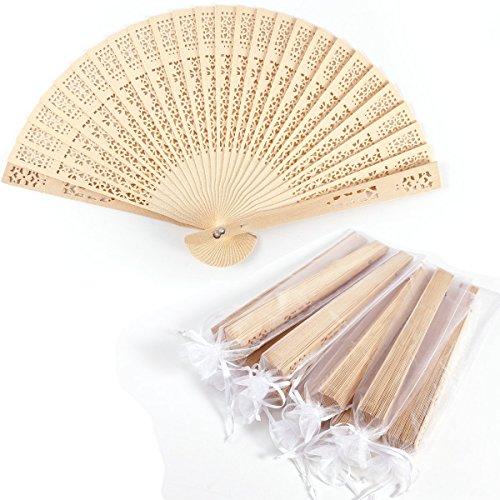 Surepromise 10er Handfächer Taschenfächer Klappfächer Stofffächer Holz Natur mit 10 Organzabeutel für Hochzeit Party Gastgeschenk