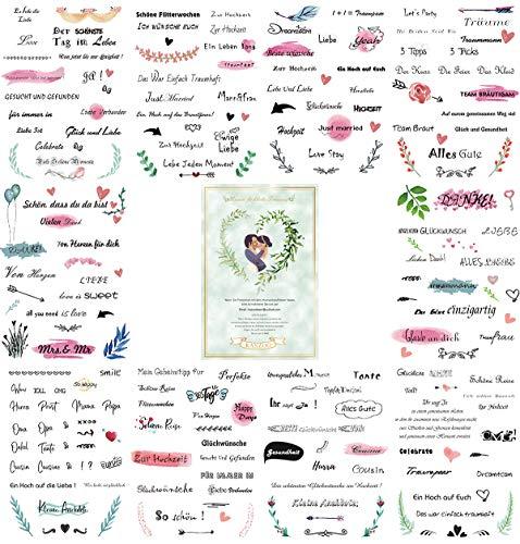 KASZOO Gästebuch Hochzeits Sticker, 229 Sticker, Schöne Sprüche Aufkleber, Watercolors Scrapbooking Design