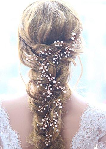 Gracewedding Brautschmuck / Haarschmuck für die Hochzeit, Ranken-Design in Rotgold, geeignet für langes Haar, Vintage-Stil, mit Strass