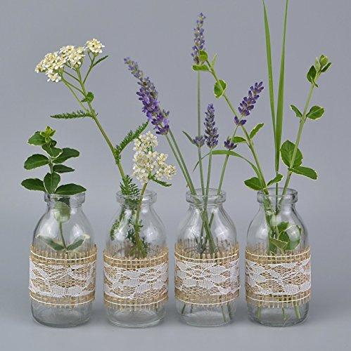 6 Stück Vasen mit Jute Natur/Spitze Weiss (2,49€/Stück) 10,5 cm kleine Glasflaschen fertig dekoriert Landhaus Vintage Dekoflaschen hessische Spitze