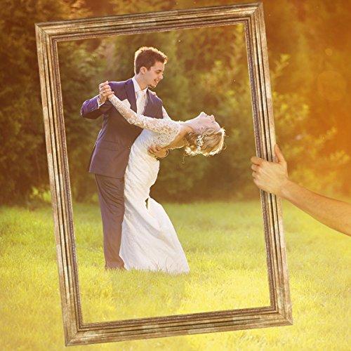 PHOTOLINI Hochzeit-Bilderrahmen für beeindruckende Hochzeitsfotos Hochzeitsspiele oder als Hochzeits-Rahmen und Photo-Booth Zubehör 50x70 cm Farbe Gold