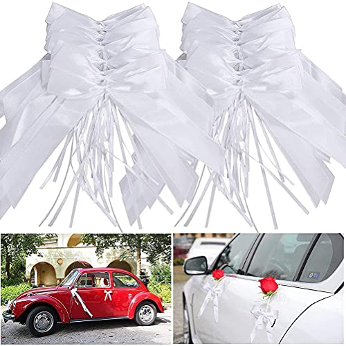 Kangmeile Autoschleifen Hochzeit, Weiße Schleifen Autodekoration Autobögen Hochzeit Handgemachte weiße Antennenbögen Brautautodekoration, Elegante und Schöne Antennenbögen, Handgemachtes Satinband