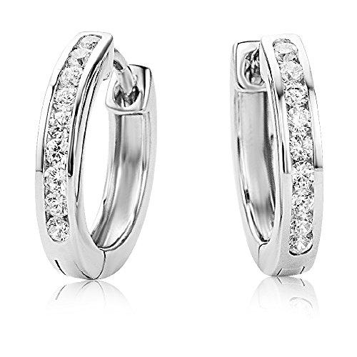Miore Ohrringe Damen Elegante Ring-Ohrringe Creolen aus 925 Sterling Silber mit 18 farblosen Zirkonia-Steinen, Damenschmuck