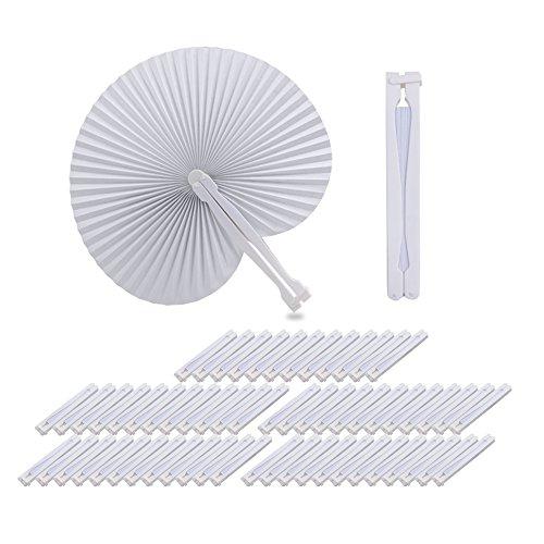 QUMAO 60 STK. Handgriff Fächer Handfächer Weiß Papierfächer Klappfächer Hand Fan Papier Hochzeit Party Faltbar Taschenfächer (Weiß (Rund))