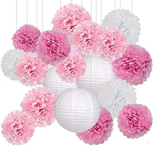 Sunshine smile 18er Set Seidenpapier Pompoms Deko Hochzeit,Seidenpapier Pompoms Blumen,Papierblumen Pompons,Hochzeit deko Pompoms,Laternen Wabenbälle,mit 2 Papierlaterne